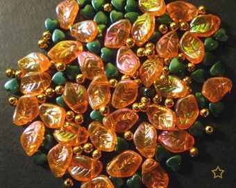 120 green synthetic beads, gold, orange