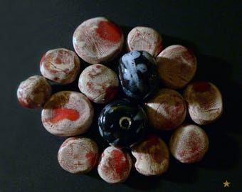 15 ceramic beige, red, black, white with various shapes beads