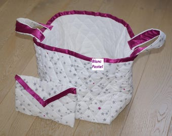 large bag + quilted bag, diaper bag or purse toys