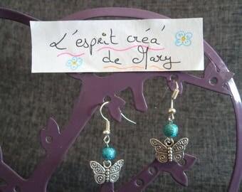 blue butterfly design earrings