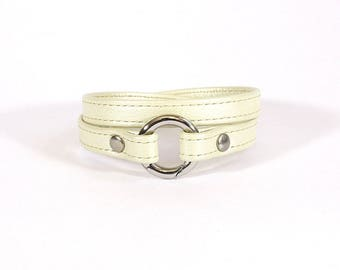 Ivory leather stitched - stainless steel clasp - bracelet leather women bracelet