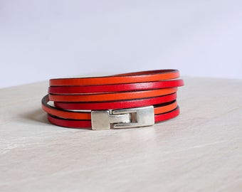 Red and orange leather - 2 strips of 3mm - 3 x wrap - Bracelet leather women bracelet
