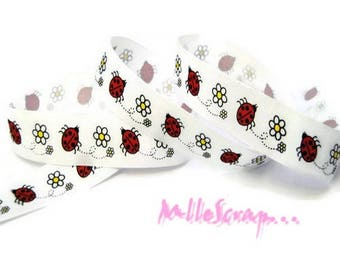"1 meter printed Ribbon ""ladybugs"" gros-grain embellishment scrapbooking cardmaking"