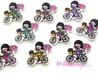 Lot de 9 boutons bois petites filles décorés embellissement scrapbooking carte.*