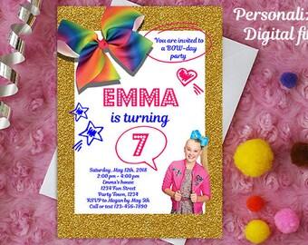 Jojo Siwa invitation - Jojo Siwa birthday invitation - Jojo Siwa birthday party - Jojo Siwa printable - Jojo Siwa invite - bowday party