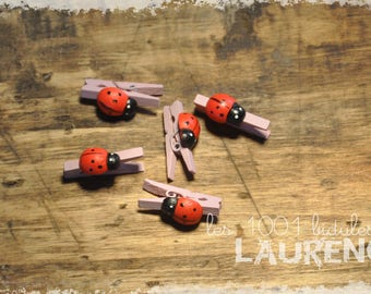 Mini clothespins, ladybug