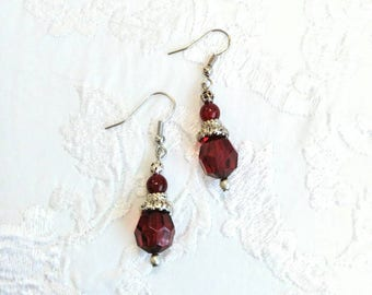 Red/Silver Beaded Earrings