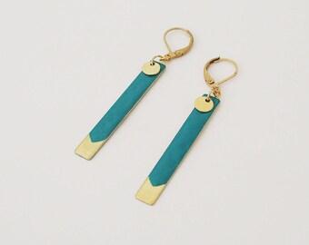 Lilou green - turquoise jewelry enamel earrings