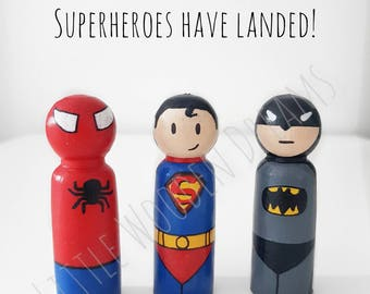 Handpainted Superhero peg dolls