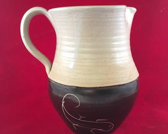 Handmade Lizard Pottery Pitcher