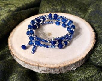 Royal Blue Crystal Beaded Bracelet