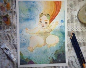 SNORKELING - watercolor original illustration