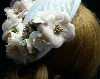 White and beige dish headdress