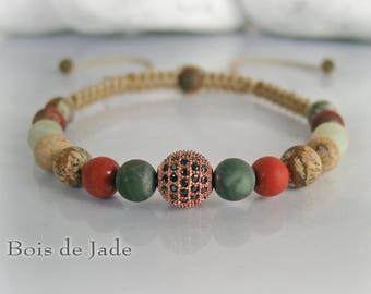 Braided beaded bracelet natural woman reference BJ - 135