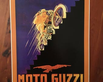 Vintage Moto Guzzi motorcycle reproduction poster