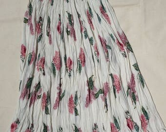 Pink and White Floral Plissé Skirt