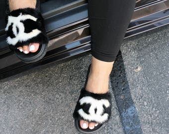 Mink slippers