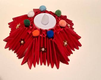 Origami 3D bougeoir étoile, papier plié rouge pompons multicolores