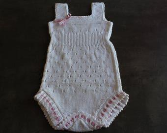 White openwork onesie 3-6 months
