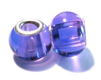 2 beads European charm's Purple glass (69)