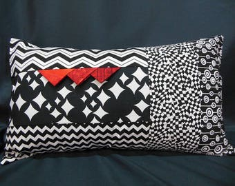 Rectangular Cushion cover, patchwork, black, white fashion, red (C366R)