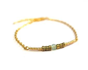 ▲Bracelet minimaliste▲ woman bracelet green aventurine and gold