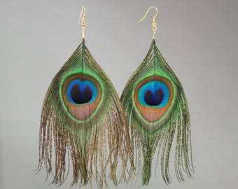 Golden feather earrings Peacock elyfly creations
