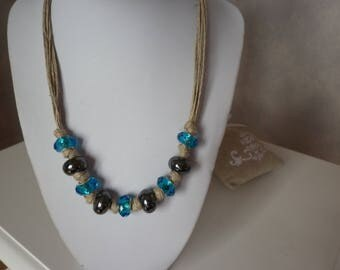 natural linen necklace with glass blue beads and ceramic black