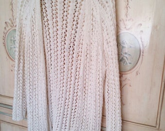 handmade linen white maxi Cardigan and cotton-knit sweater summer-spring