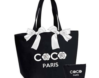 Very large COCO paris tote bag and pouch Kit