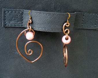 Earrings worked aluminium chocolate color