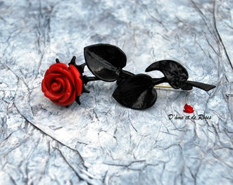 Baroque black and red rose brooch