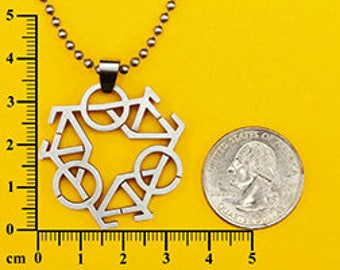 Tri Bicycle (Bike) Pendant Stainless Steel Charm  w/FREE beaded chain necklace