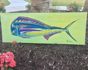 One of A Kind Abstract Fish Painting, Originated in Murrells Inlet SC