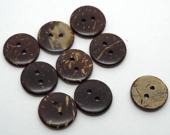8x Round Coconut 2 Hole Buttons 15mm Brown Buttons Natural Buttons
