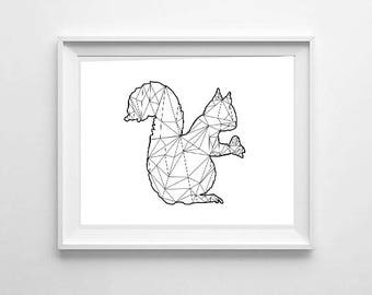 Geometric Squirrel, wall art, print, digital download