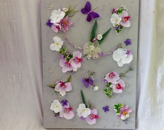 Floral Orchid and sequin art print