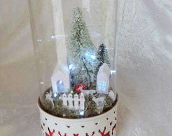 "Glass Bell with a Christmas decoration ""centerpiece or gift to give"""
