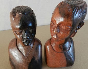 Pair No. 1 carving wood bust African ideal wedding gift
