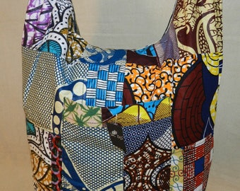 Shoulder Ref: SbL-215 in wax africainpatchwork with zip closure and 3 pockets