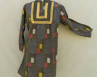 Ethnic tunic in African wax fabric and lace one size 36/40