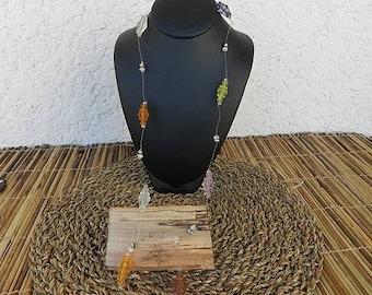 Multi color crystal drop necklace