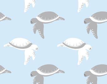 Cotton Jersey marine turtles light blue