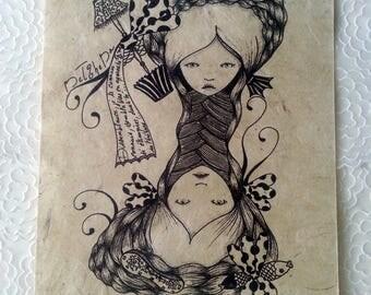 """Duality"" digital print on handmade Lokta paper"