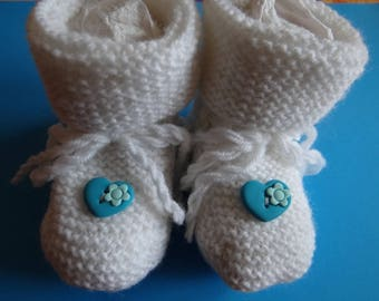 BABY WHITE AND TURQUOISE POLYMER CLAY HEART