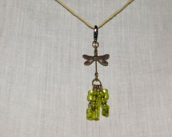 Dragonfly Charm with Green Beads