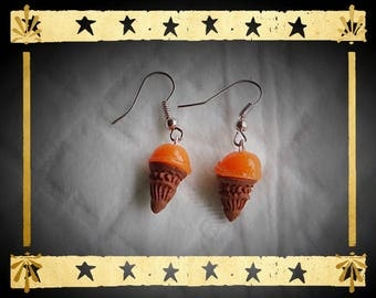 Brown ice cream cone and orange ball mounted on silver plated earrings