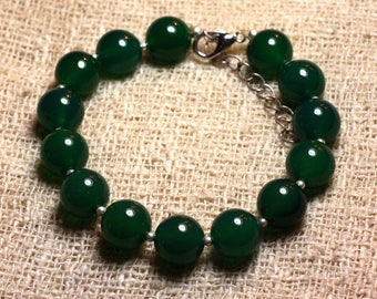 925 sterling silver and stone - 10mm Green Onyx bracelet
