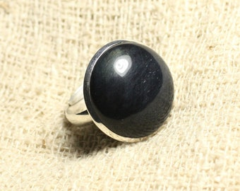 Ring 925 sterling silver and stone - Hawkeye round 20mm adjustable size