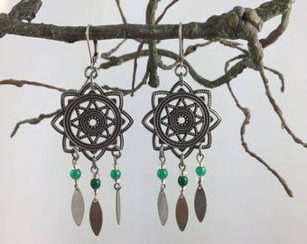 Earrings antique Silver Star print